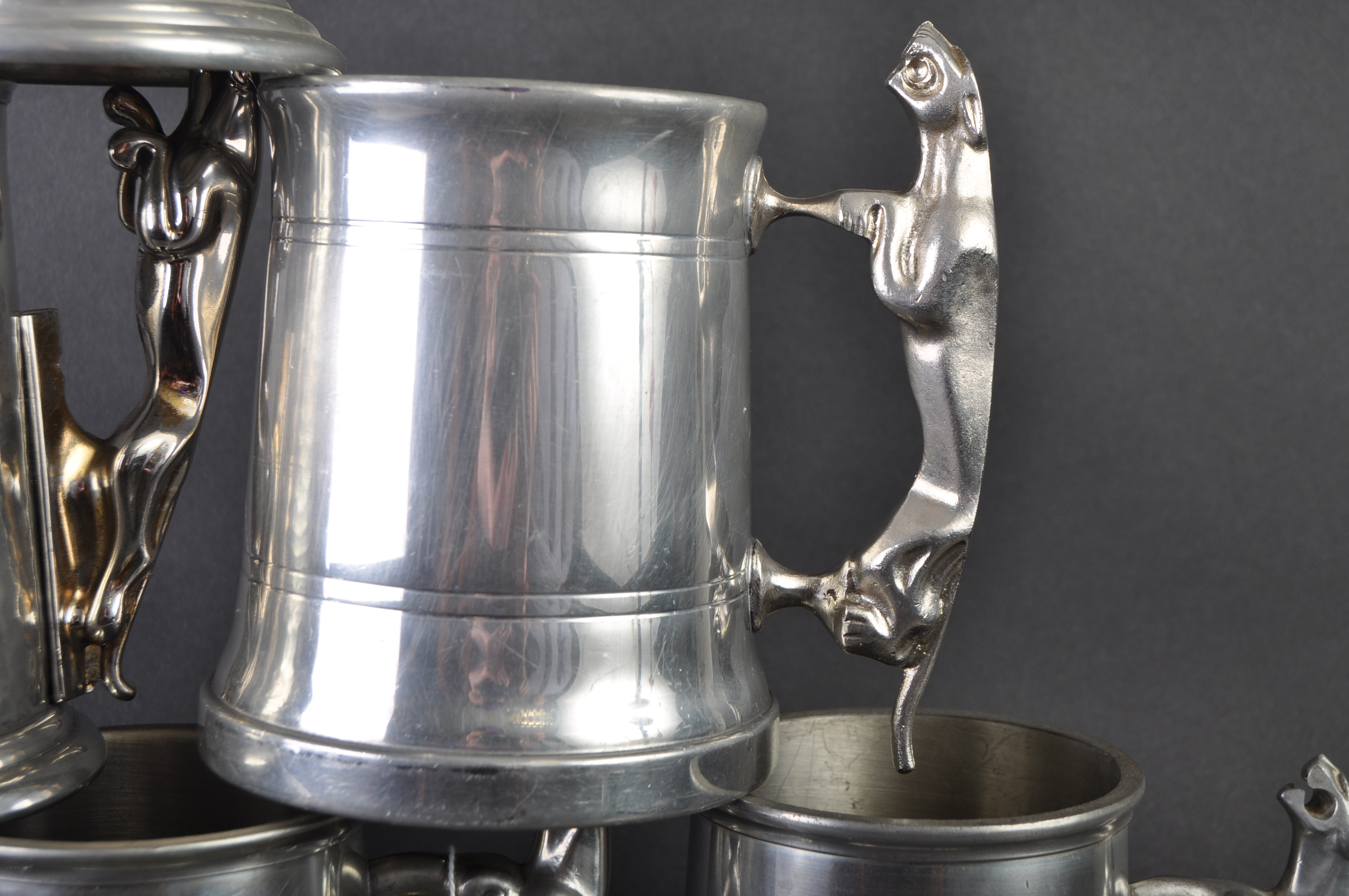 JAGUAR - COLLECTION OF SIX ORIGINAL MASCOT HANDLED PEWTER TANKARDS - Image 4 of 7