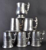 JAGUAR - COLLECTION OF SIX ORIGINAL MASCOT HANDLED PEWTER TANKARDS