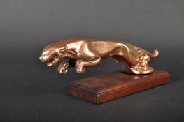 BRONZE JAGUAR MASCOT - 1970S LEAPER ON WOODEN BASE