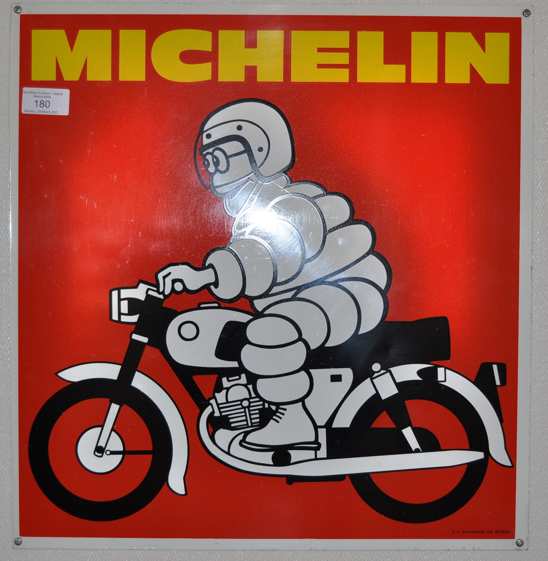 MICHELIN TYRES - ORIGINAL VINTAGE ENAMEL SCOOTER SIGN