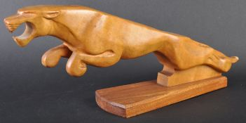 JAGUAR - LARGE CARVED JAGUAR WOODEN LEAPER MASCOT