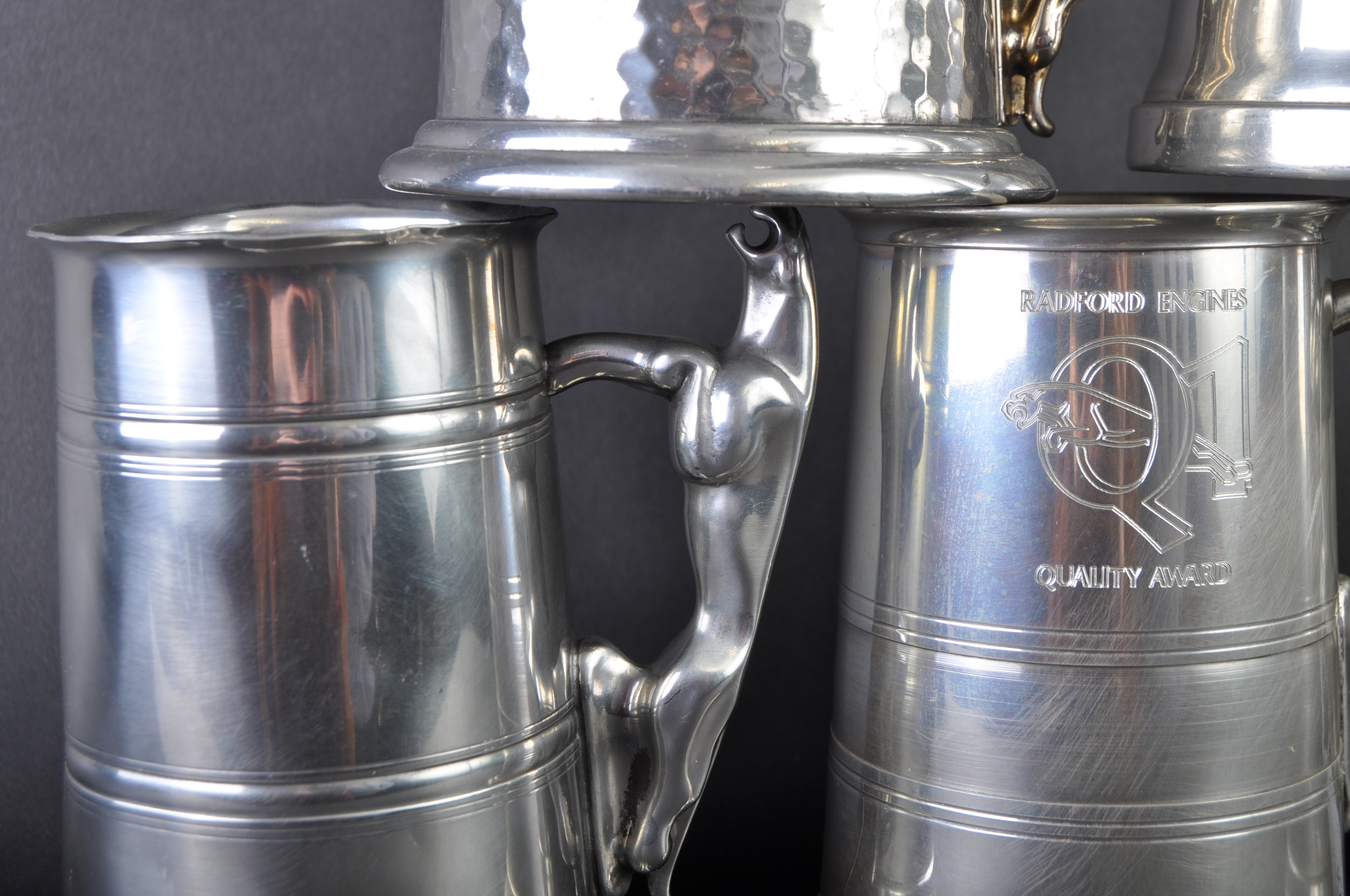 JAGUAR - COLLECTION OF SIX ORIGINAL MASCOT HANDLED PEWTER TANKARDS - Image 5 of 7