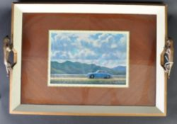 JAGUAR - RARE C1950S PRESENTATION MK1 SALOON BRONZE HANDLED TRAY