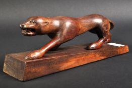 JAGUAR - LARGE 20TH CENTURY FOLK ART CARVED JAGUAR FIGURE