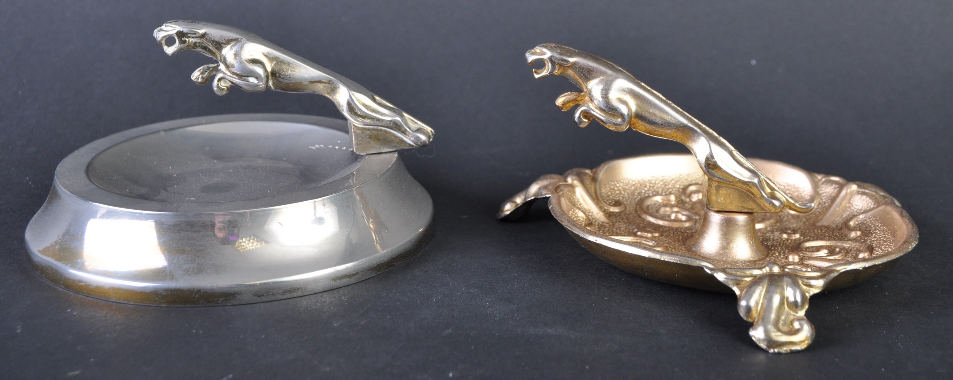 JAGUAR - TWO VINTAGE PROMOTIONAL JAGUAR LEAPER ASHTRAYS