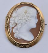 19TH CENTURY CARVED SHELL CAMEO BROOCH PIN