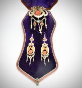 VICTORIAN GOLD GORAL EARRINGS AND BROOCH SUITE