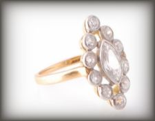 EDWARDIAN 18CT GOLD AND DIAMOND CLUSTER RING