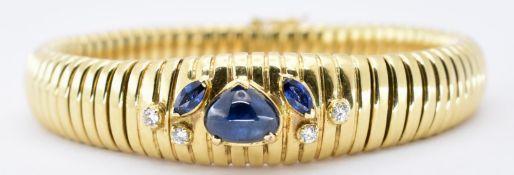 18CT GOLD SAPPHIRE AND DIAMOND BRACELET