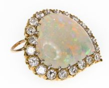 GOLD OPAL & DIAMOND PENDANT BROOCH WITCHES HEART