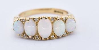 18CT GOLD OPAL FIVE STONE LONDON HALLMARKED RING