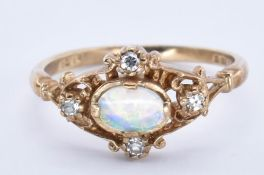 HALLMARKED 9CT GOLD OPAL AND DIAMOND RING