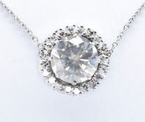 FRENCH 18CT WHITE GOLD AND DIAMOND CLUSTER PENDANT