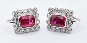 18CT GOLD WHITE SYNTHETIC RUBY & DIAMOND CLUSTER EARRINGS