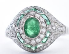 18CT WHITE GOLD, EMERALD AND DIAMOND RING