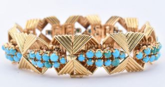 FRENCH 18CT GOLD & TURQUOISE BRACELET