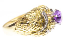 18CT GOLD AMETHYST AND DIAMOND COCKTAIL RING