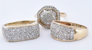 THREE HALLMARKED 9CT GOLD AND DIAMOND RINGS