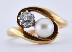 GOLD PEARL & DIAMOND CROSSOVER RING