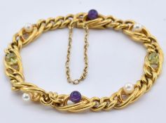 18CT GOLD PERIDOT PEARL AND AMETHYST BRACELET