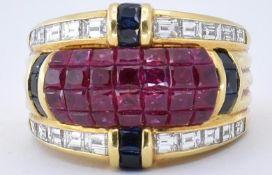 DENOIR 18CT YELLOW GOLD RUBY SAPPHIRE DIAMOND RING