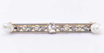FRENCH 18CT GOLD PLATINUM PEARL DIAMOND BAR BROOCH