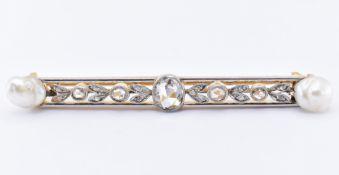 FRENCH 18CT GOLD PLATINUM PEARL DIAMOND BAR BROOCH