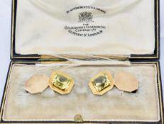 PAIR OF 18CT GOLD FRENCH YELLOW SAPPHIRE SET CUFFLINKS