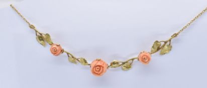 FRENCH ART NOUVEAU 18CT GOLD CARVED CORAL GARLAND NECKLACE