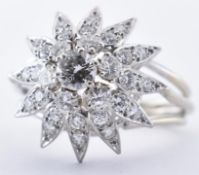 FRENCH WHITE GOLD & DIAMOND CLUSTER RING