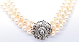GOLD PLATINUM DIAMOND AND PEARL 3 STRAND COLLAR NECKLACE