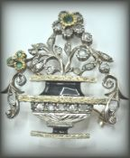 18CT GOLD EMERAL AND DIAMOND JARDINIERE BROOCH