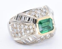 18CT GOLD EMERALD AND DIAMOND SET BOMBE RING