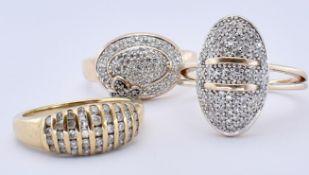 THREE HALLMARKED 9CT GOLD & DIAMOND RINGS