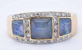 HALLMARKED 9CT GOLD OPAL AND DIAMOND CLUSTER RING