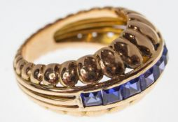 FRENCH 14CT GOLD & SAPPHIRE DOME RING