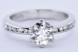 18CT WHITE & DIAMOND SOLITAIRE RING
