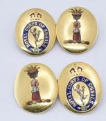 PAIR OF 18CT GOLD AND ENAMEL ROYAL SIGNAL CORPS CUFFLINKS