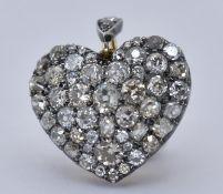 VICTORIAN DIAMOND & ROCK CRYSTAL HEART LOCK PENDANT