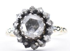 ANTIQUE 18CT GOLD AND DIAMOND CLUSTER RING