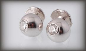 CARTIER 18CT WHITE GOLD & DIAMOND STUD EARRINGS