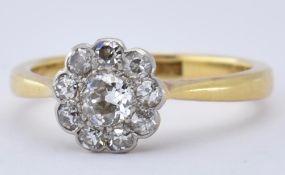 18CT GOLD PLATINUM DIAMOND CLUSTER RING