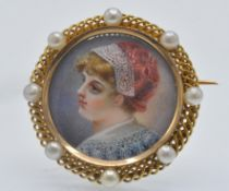 ANTIQUE FRENCH GOLD PEARL MINIATURE PORTRAIT BROOCH