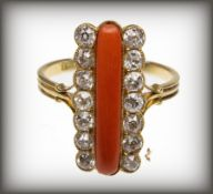 ANTIQUE 18CT GOLD CORAL AND DIAMOND RING