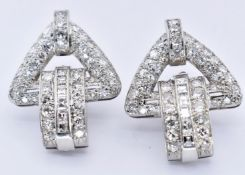 PAIR FRENCH ART DECO 18CT WHITE GOLD DIAMOND EARRINGS