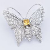 18CT GOLD & YELLOW DIAMOND BUTTERFLY PIN BROOCH