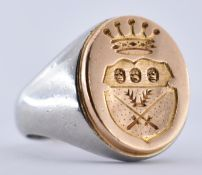 FRENCH PLATINUM & 18CT GOLD CHEVALIER SIGNET RING