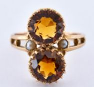 ANTIQUE FRENCH 18CT GOLD CITRINE & PEARL RING