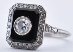 PLATINUM ONYX AND DIAMOND PANEL RING