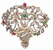 FRENCH ANTIQUE EMERALD RUBY DIAMOND PENDANT BROOCH